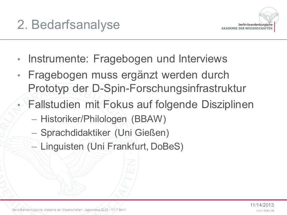 2. Bedarfsanalyse Instrumente: Fragebogen und Interviews