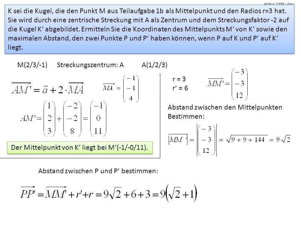 Der Mittelpunkt von K' liegt bei M'(-1/-0/11).