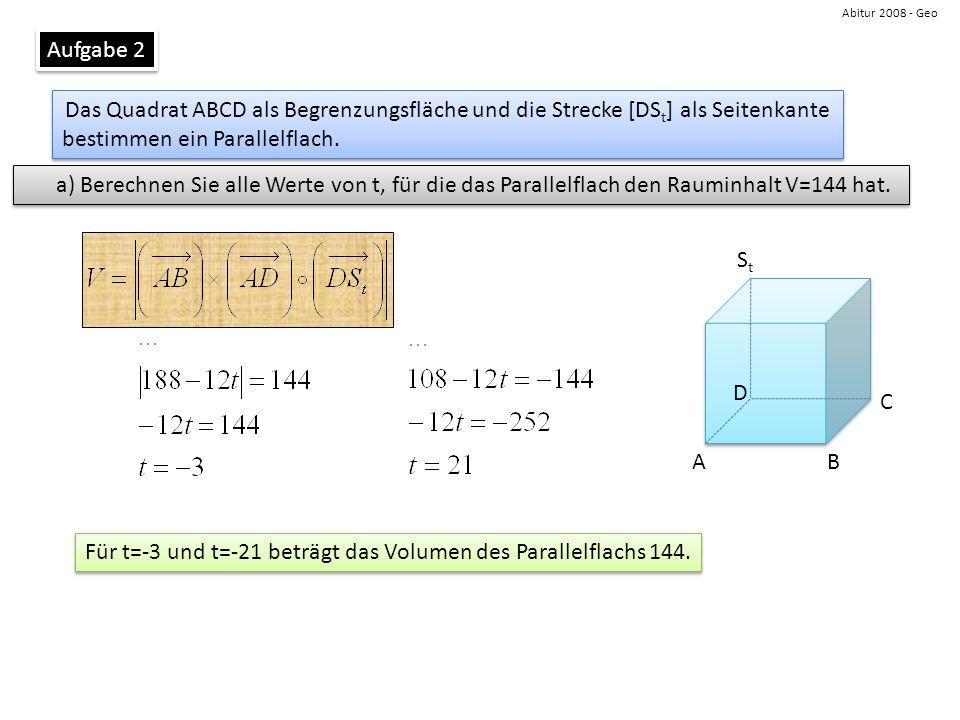 Für t=-3 und t=-21 beträgt das Volumen des Parallelflachs 144.
