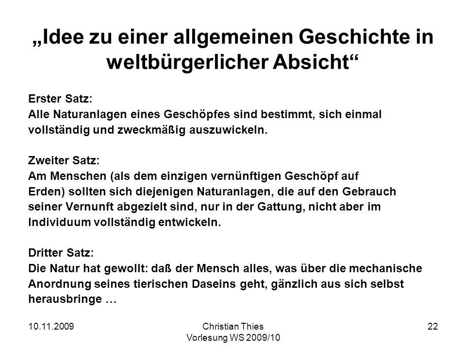 """""""Idee zu einer allgemeinen Geschichte in weltbürgerlicher Absicht"""
