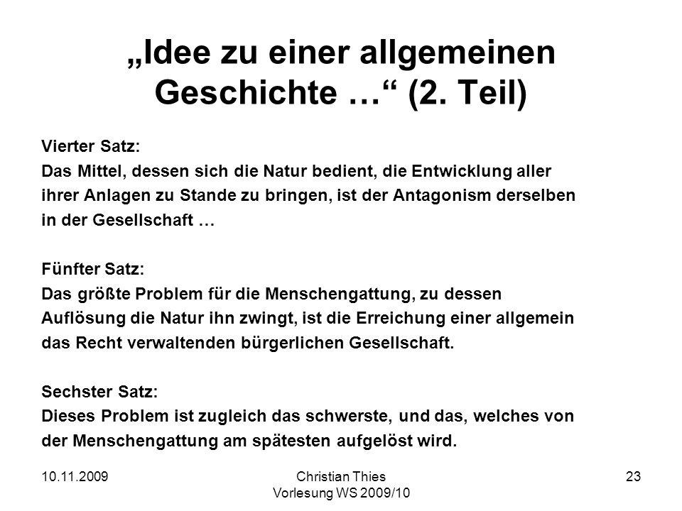 """""""Idee zu einer allgemeinen Geschichte … (2. Teil)"""