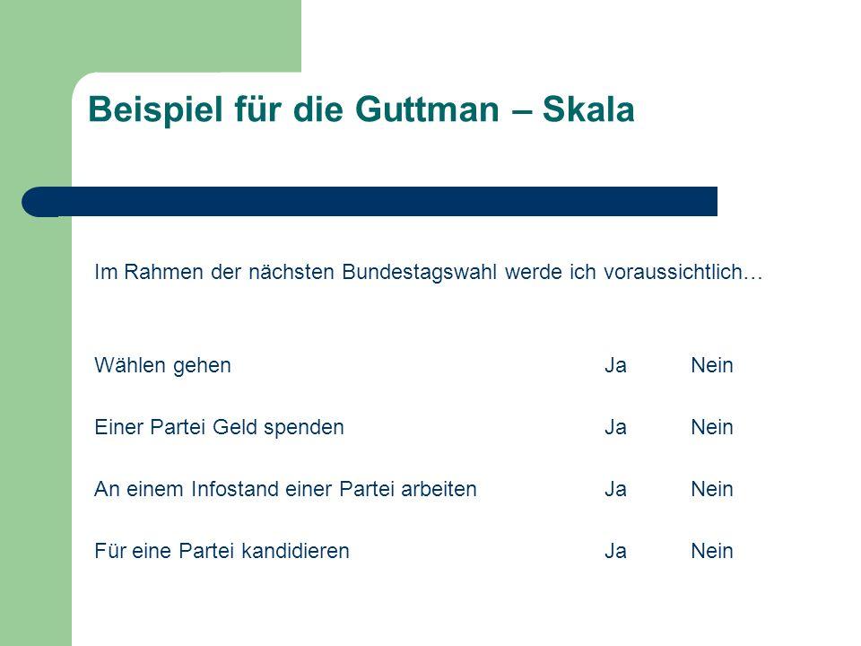 Beispiel für die Guttman – Skala