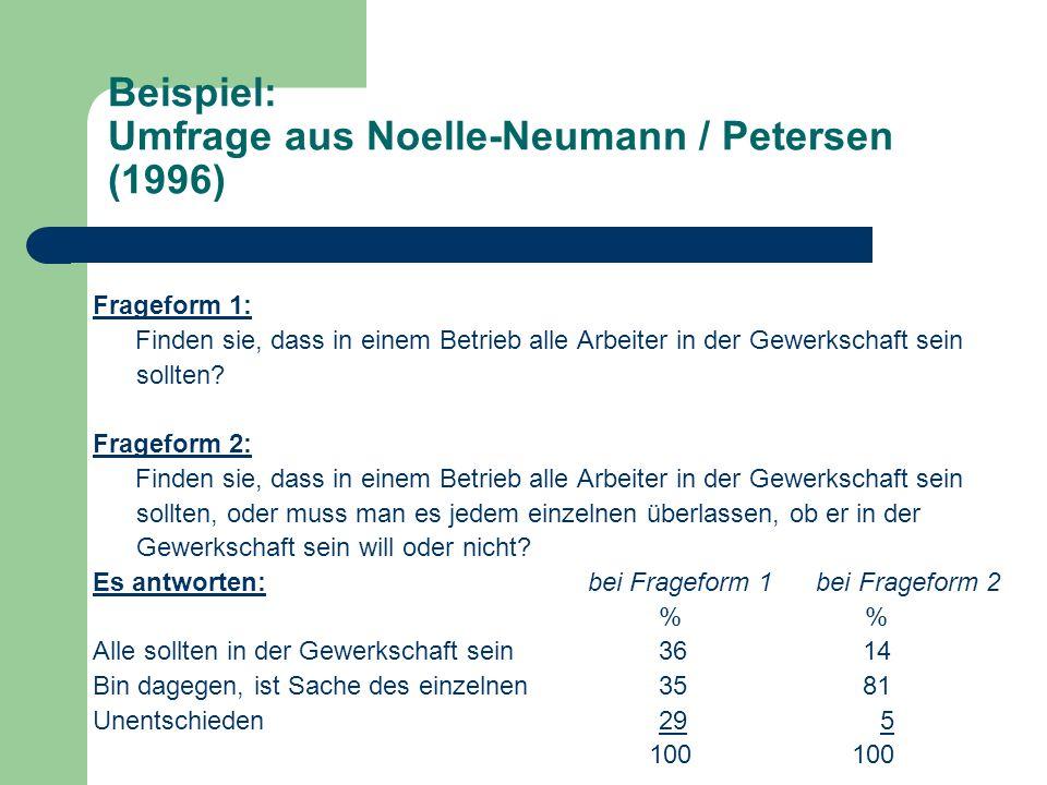 Beispiel: Umfrage aus Noelle-Neumann / Petersen (1996)