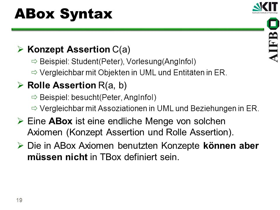 ABox Syntax Konzept Assertion C(a) Rolle Assertion R(a, b)