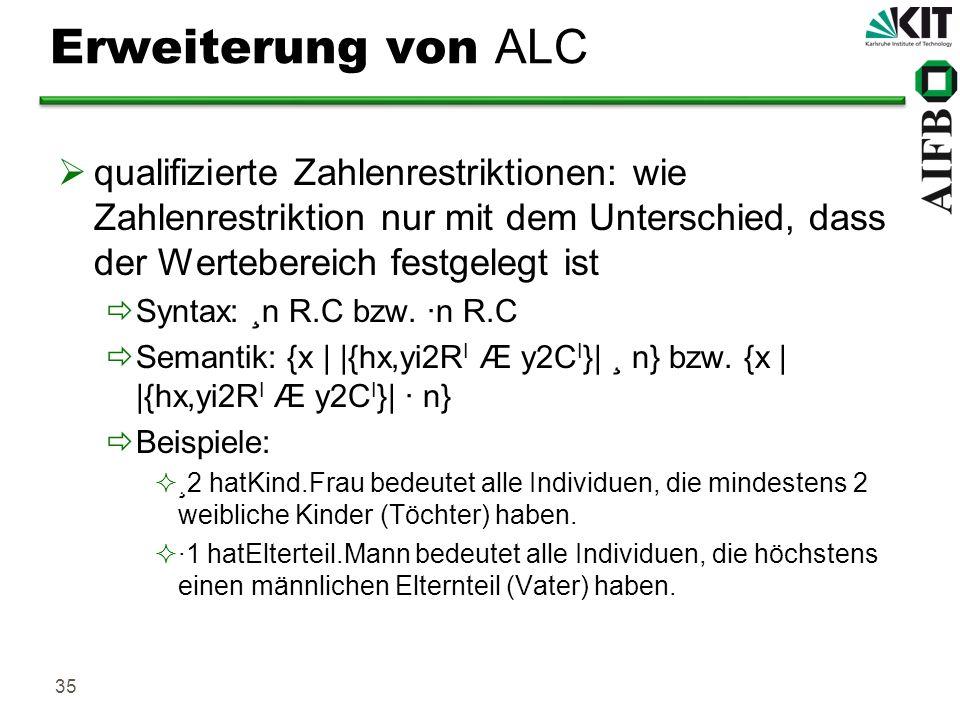 Erweiterung von ALC qualifizierte Zahlenrestriktionen: wie Zahlenrestriktion nur mit dem Unterschied, dass der Wertebereich festgelegt ist.