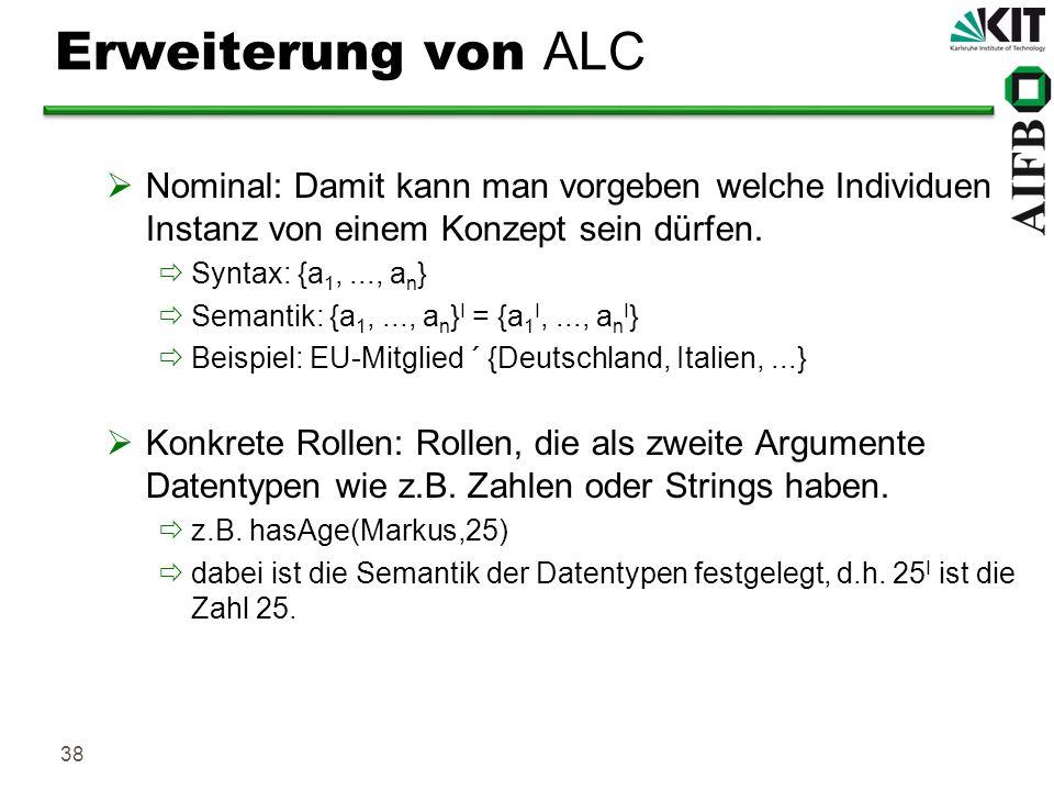Erweiterung von ALC Nominal: Damit kann man vorgeben welche Individuen Instanz von einem Konzept sein dürfen.