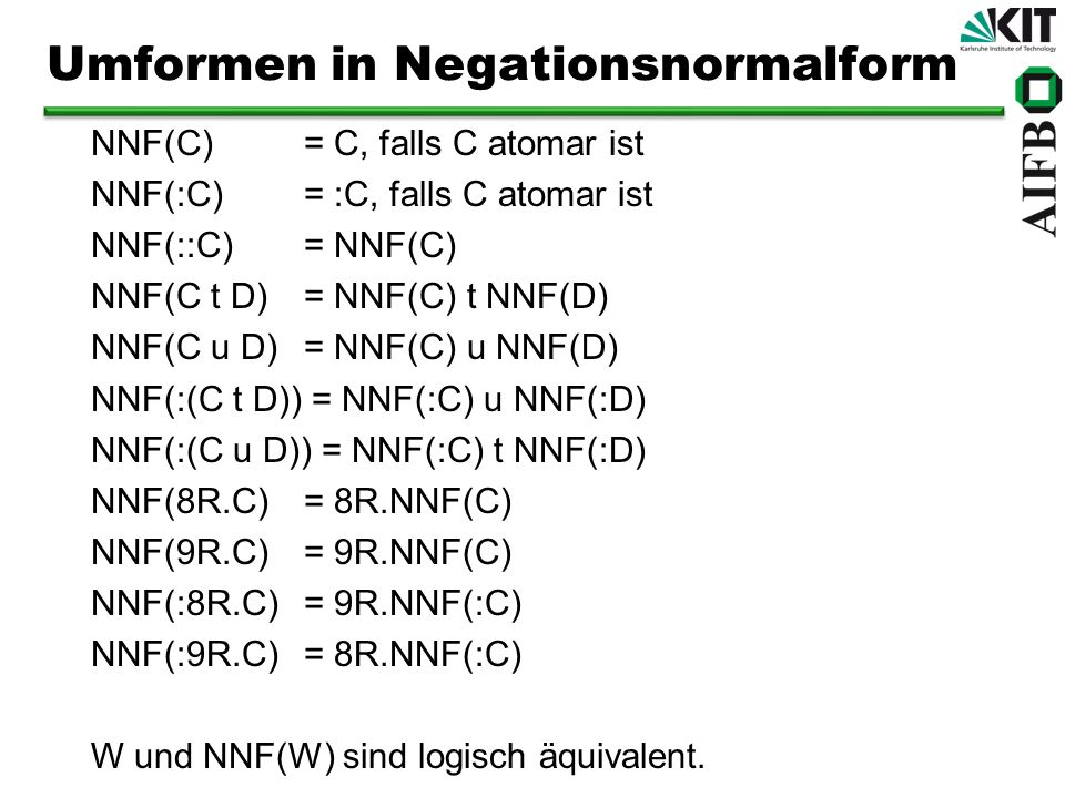 Umformen in Negationsnormalform