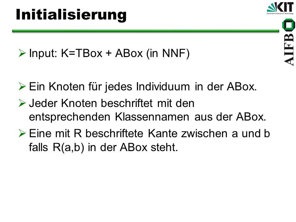Initialisierung Input: K=TBox + ABox (in NNF)