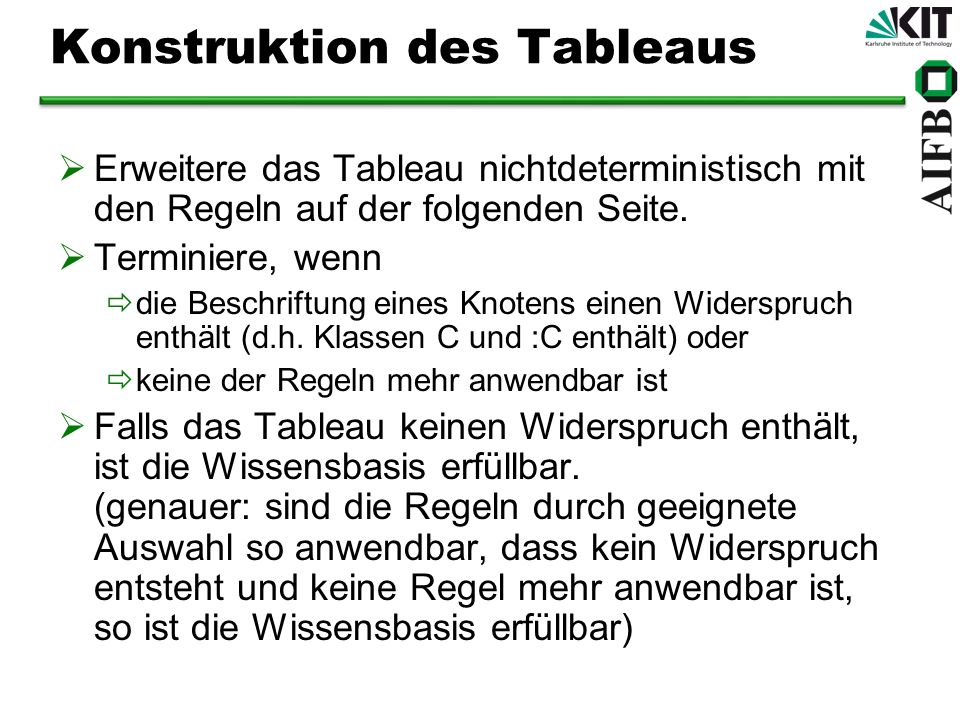 Konstruktion des Tableaus