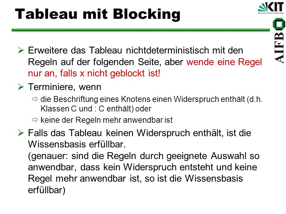 Tableau mit Blocking