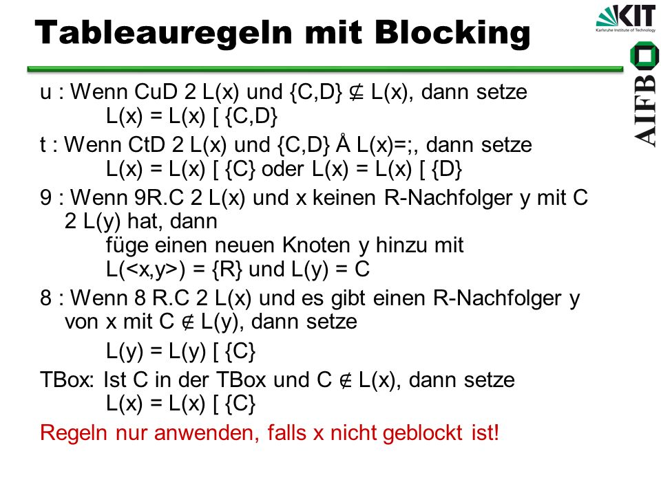 Tableauregeln mit Blocking