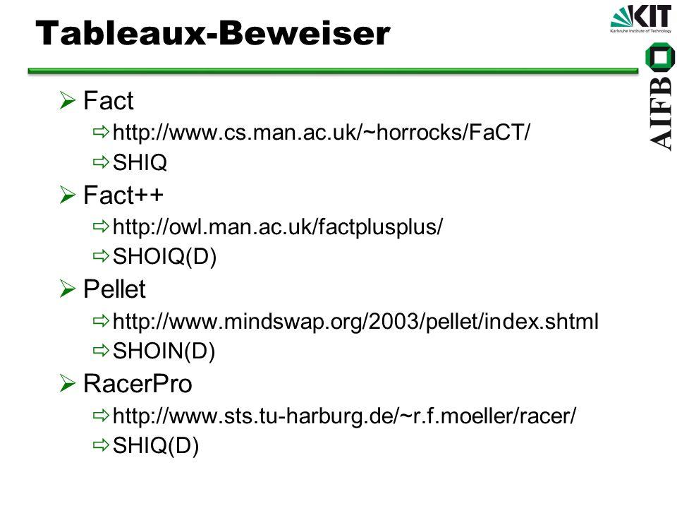 Tableaux-Beweiser Fact Fact++ Pellet RacerPro