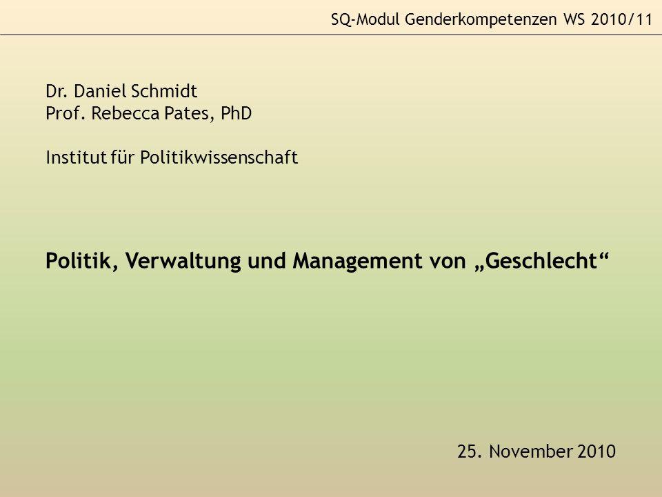 """Politik, Verwaltung und Management von """"Geschlecht"""