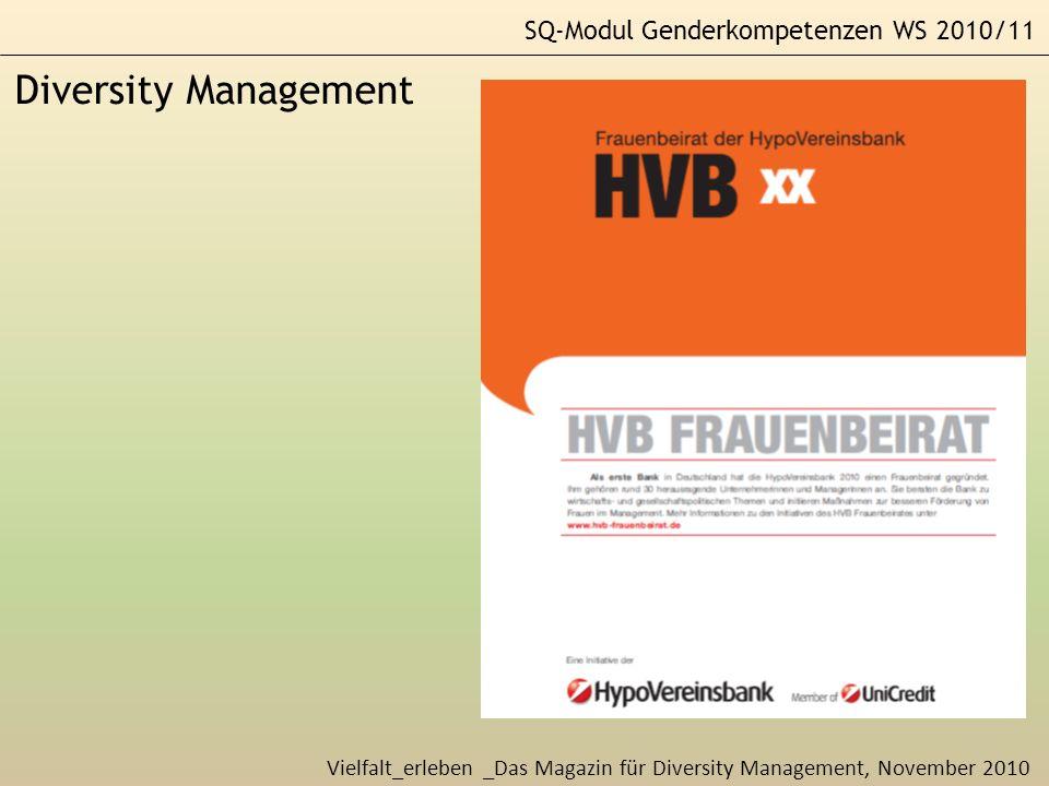 Diversity Management SQ-Modul Genderkompetenzen WS 2010/11
