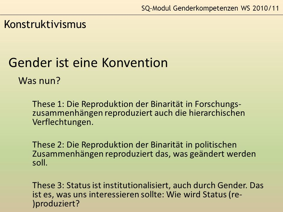Gender ist eine Konvention