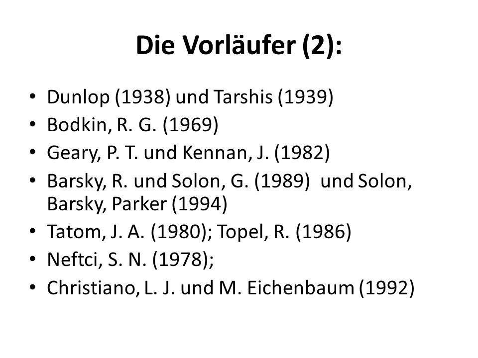 Die Vorläufer (2): Dunlop (1938) und Tarshis (1939)
