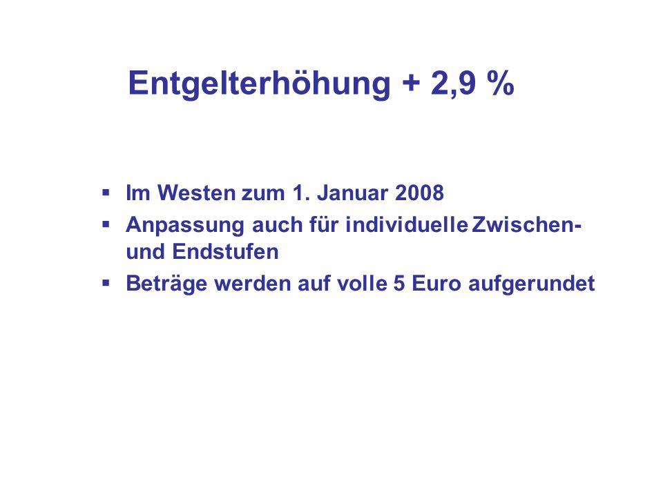 Entgelterhöhung + 2,9 % Im Westen zum 1. Januar 2008