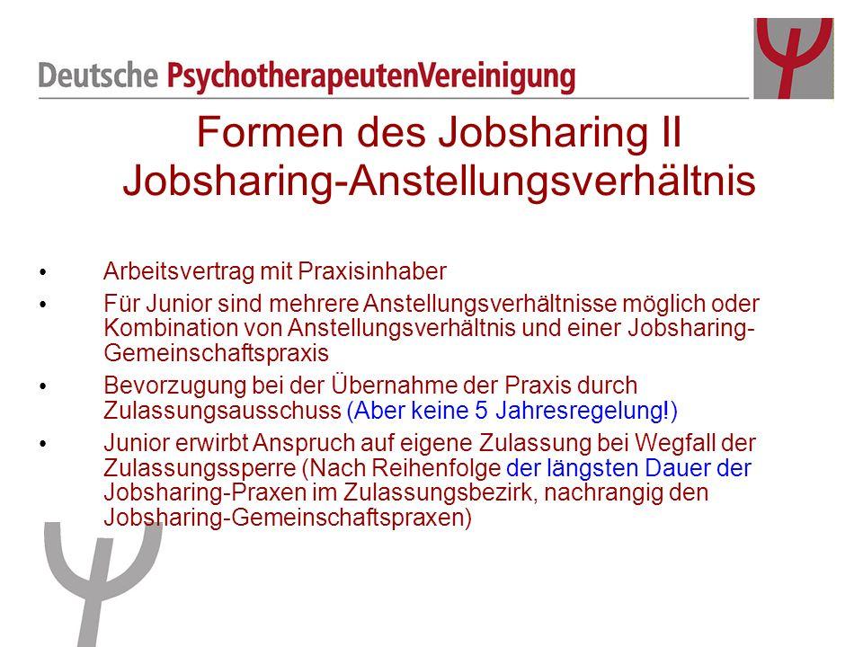 Formen des Jobsharing II Jobsharing-Anstellungsverhältnis