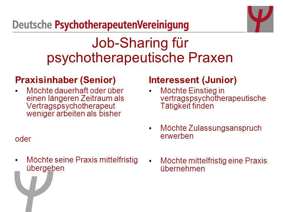 Job-Sharing für psychotherapeutische Praxen