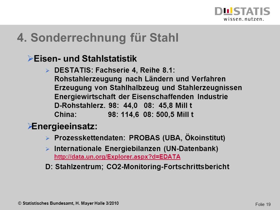 4. Sonderrechnung für Stahl