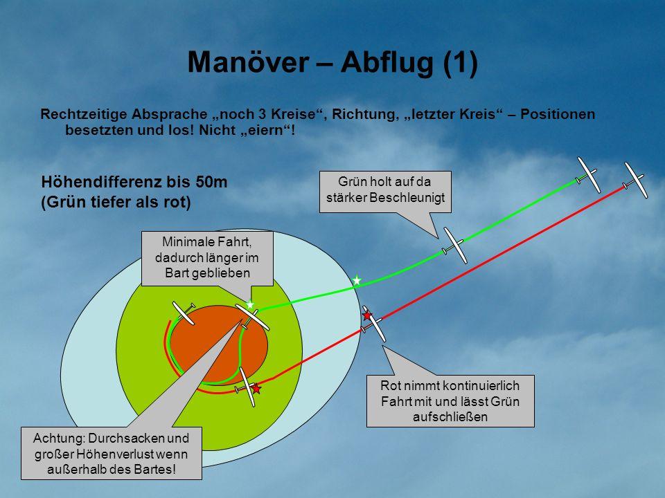 Manöver – Abflug (1) Höhendifferenz bis 50m (Grün tiefer als rot)