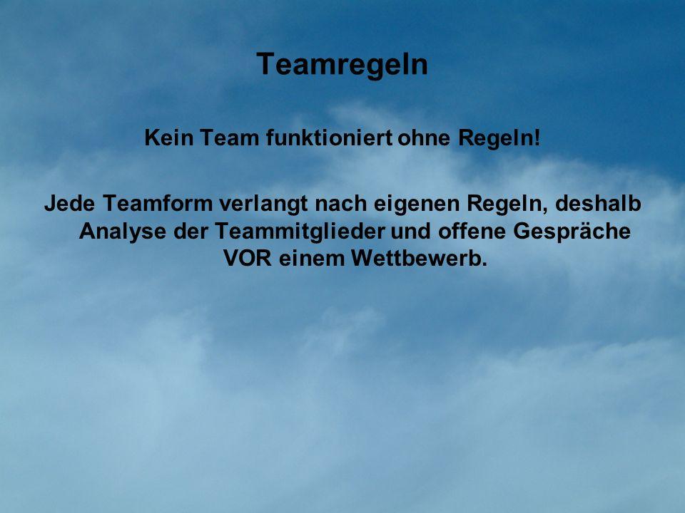 Kein Team funktioniert ohne Regeln!