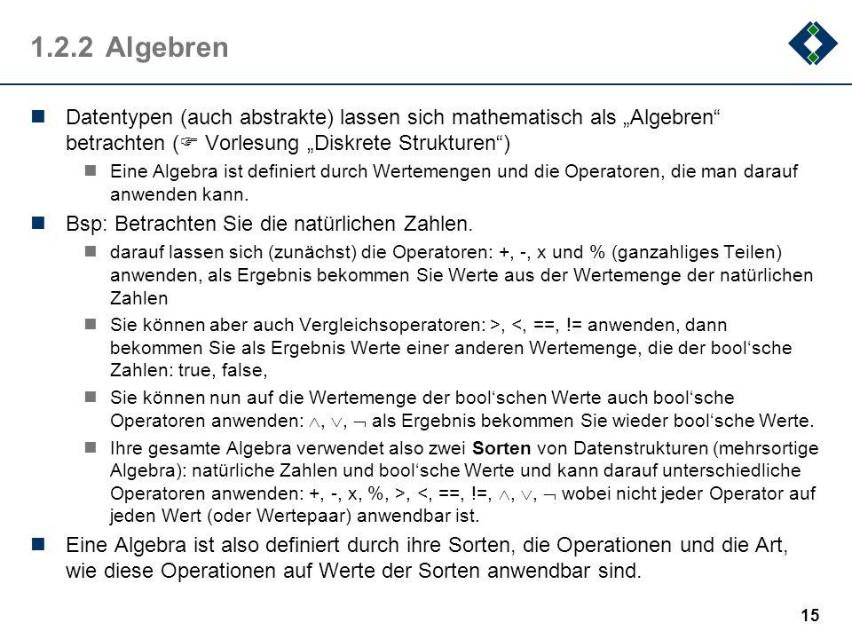 """1.2.2 Algebren Datentypen (auch abstrakte) lassen sich mathematisch als """"Algebren betrachten ( Vorlesung """"Diskrete Strukturen )"""