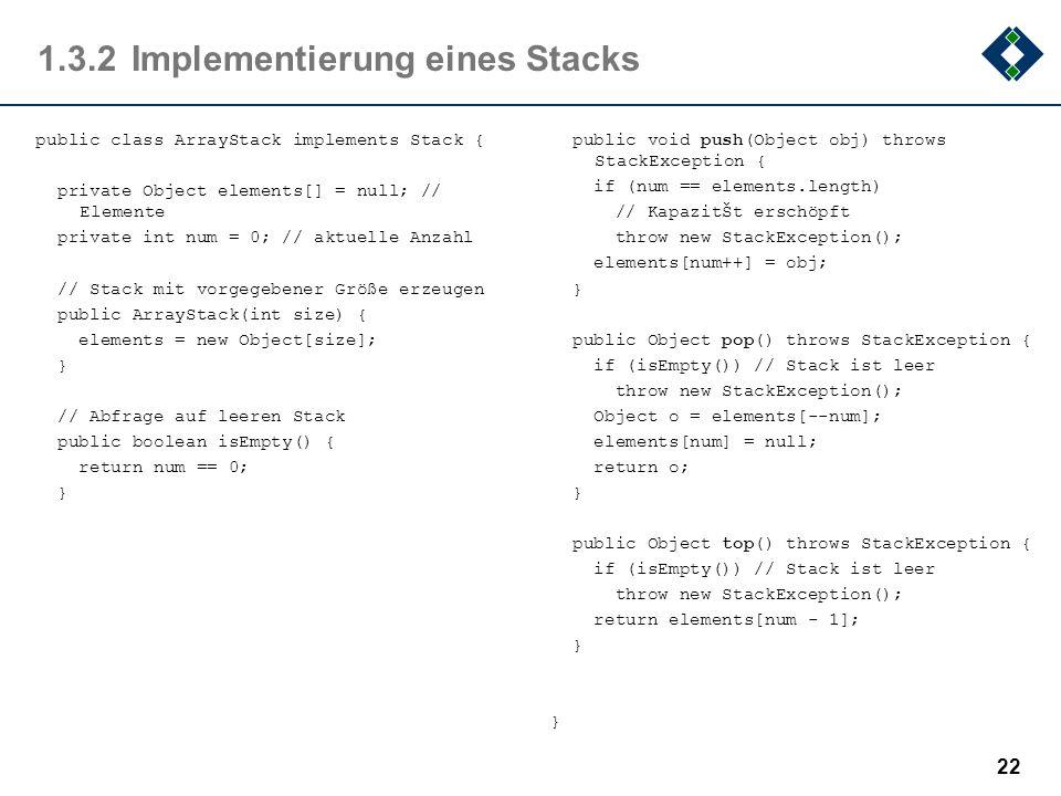 1.3.2 Implementierung eines Stacks