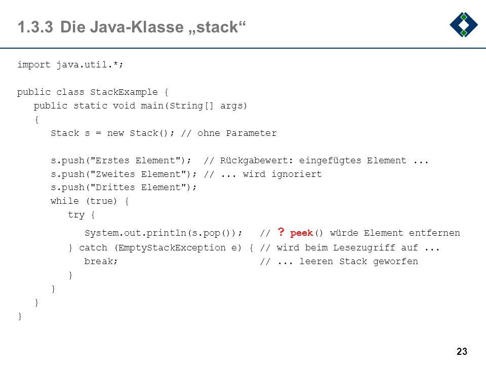 """1.3.3 Die Java-Klasse """"stack"""