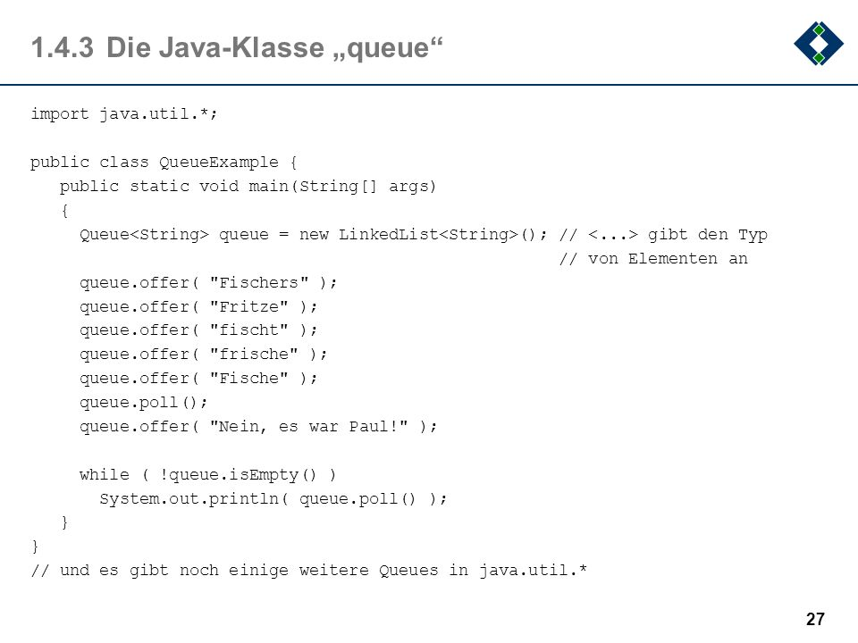 "1.4.3 Die Java-Klasse ""queue"