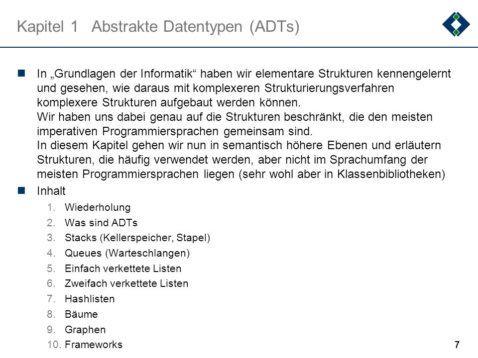 Kapitel 1 Abstrakte Datentypen (ADTs)
