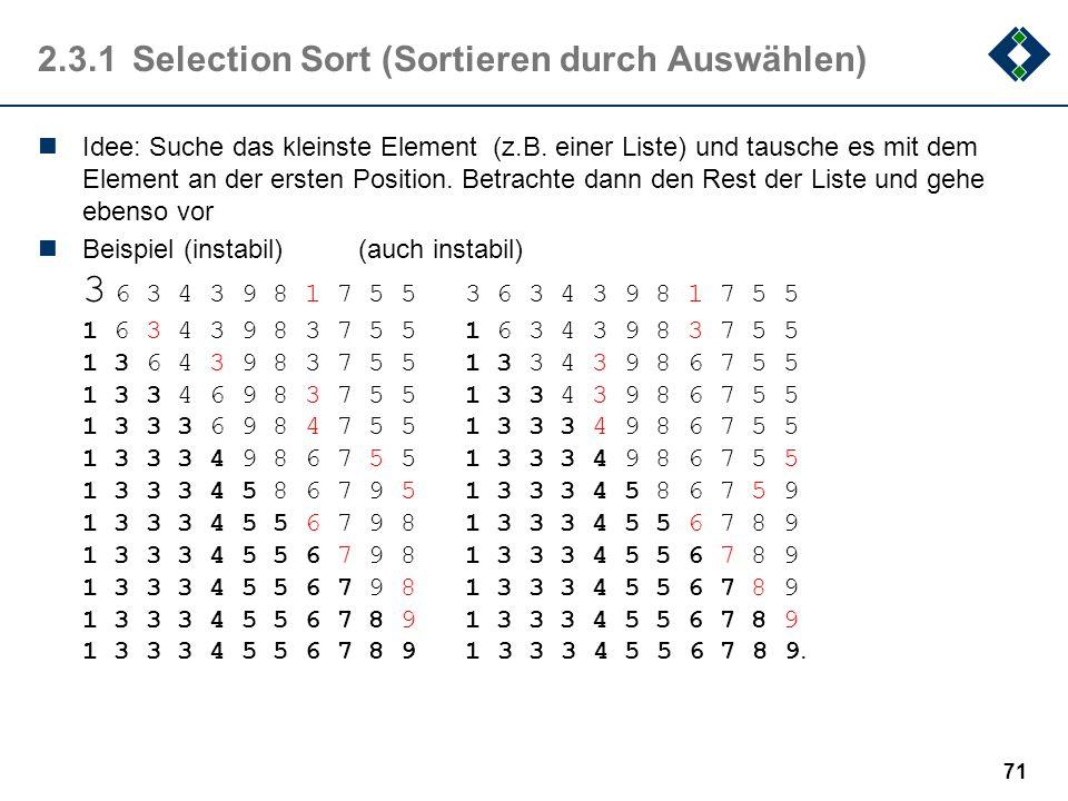 2.3.1 Selection Sort (Sortieren durch Auswählen)