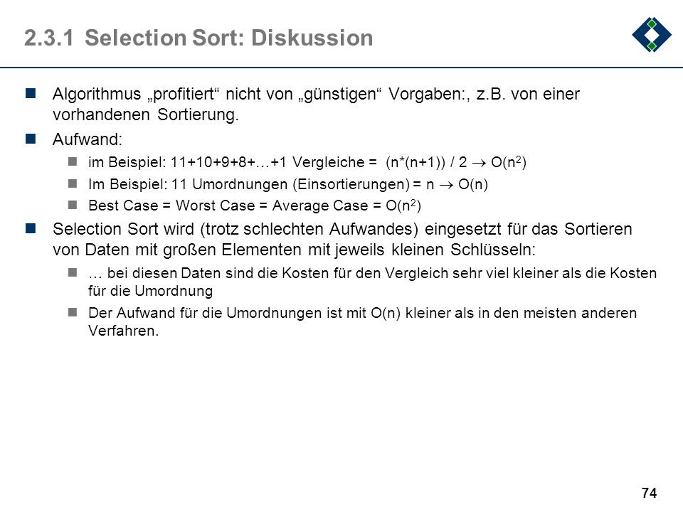 2.3.1 Selection Sort: Diskussion