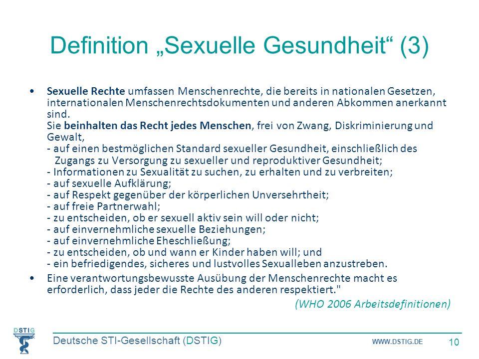 """Definition """"Sexuelle Gesundheit (3)"""