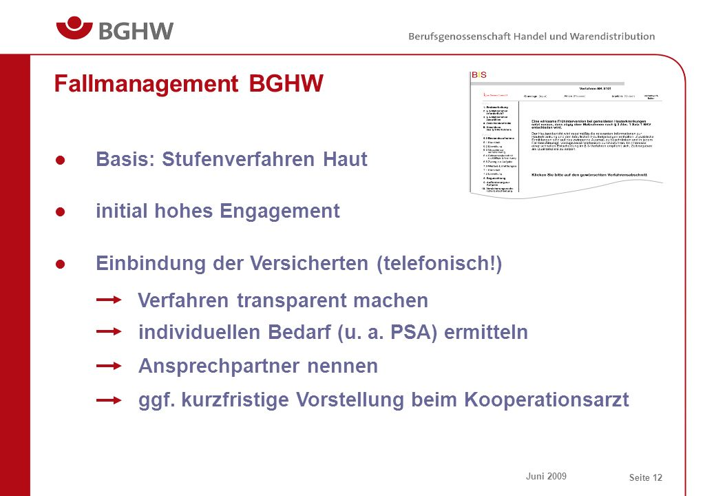 Fallmanagement BGHW Basis: Stufenverfahren Haut