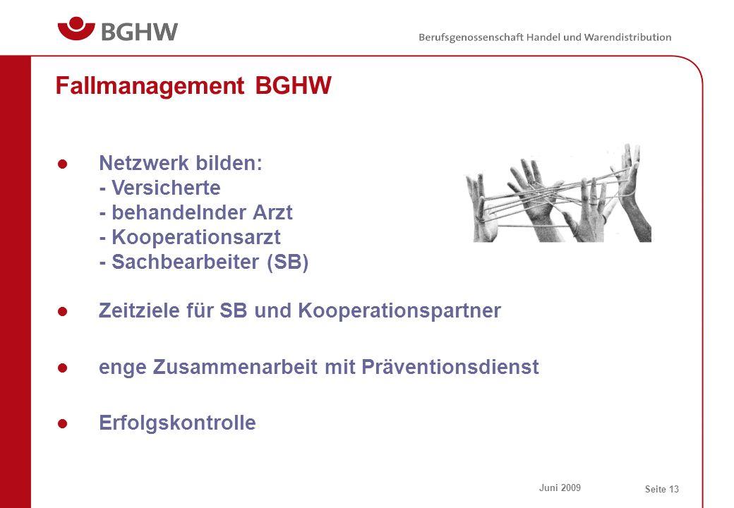 Fallmanagement BGHW Netzwerk bilden: - Versicherte - behandelnder Arzt - Kooperationsarzt - Sachbearbeiter (SB)