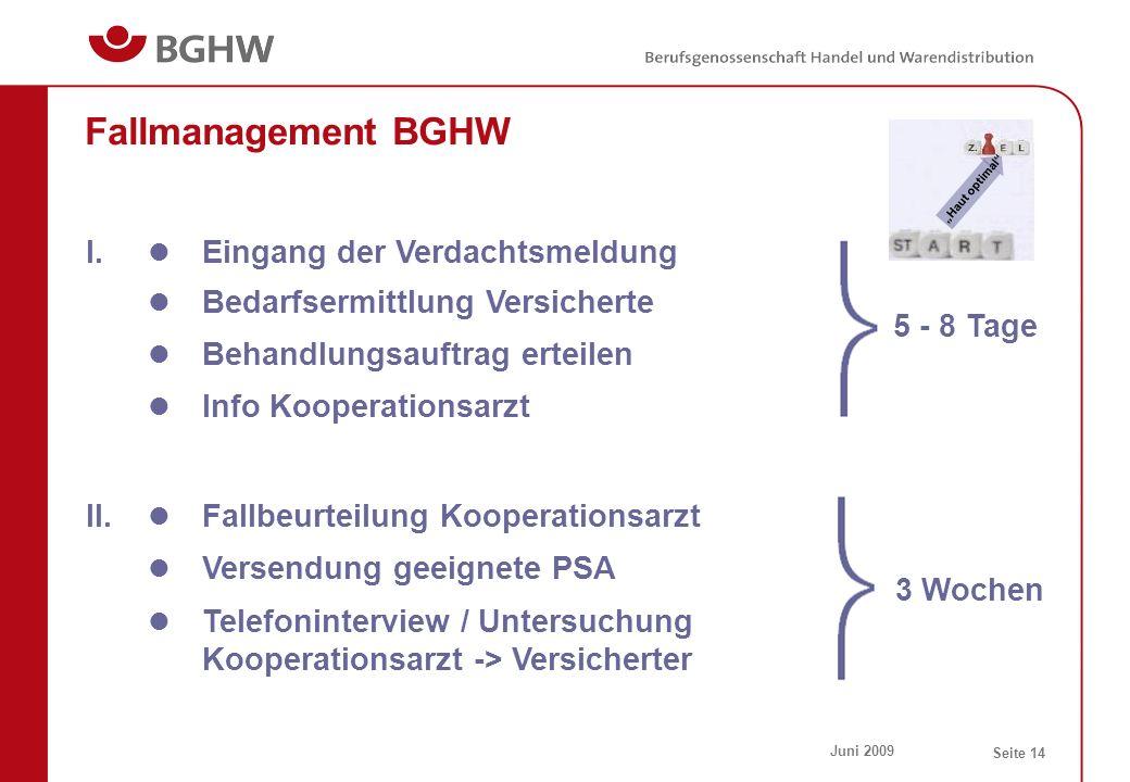Fallmanagement BGHW I. Eingang der Verdachtsmeldung
