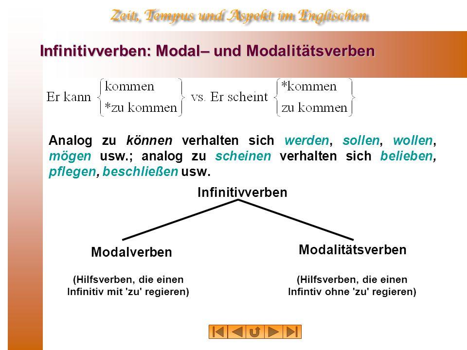 Infinitivverben: Modal– und Modalitätsverben