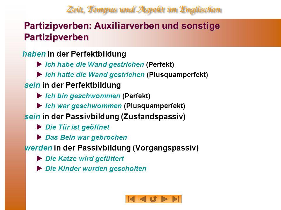 Partizipverben: Auxiliarverben und sonstige Partizipverben