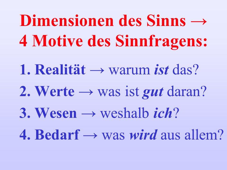 Dimensionen des Sinns → 4 Motive des Sinnfragens: