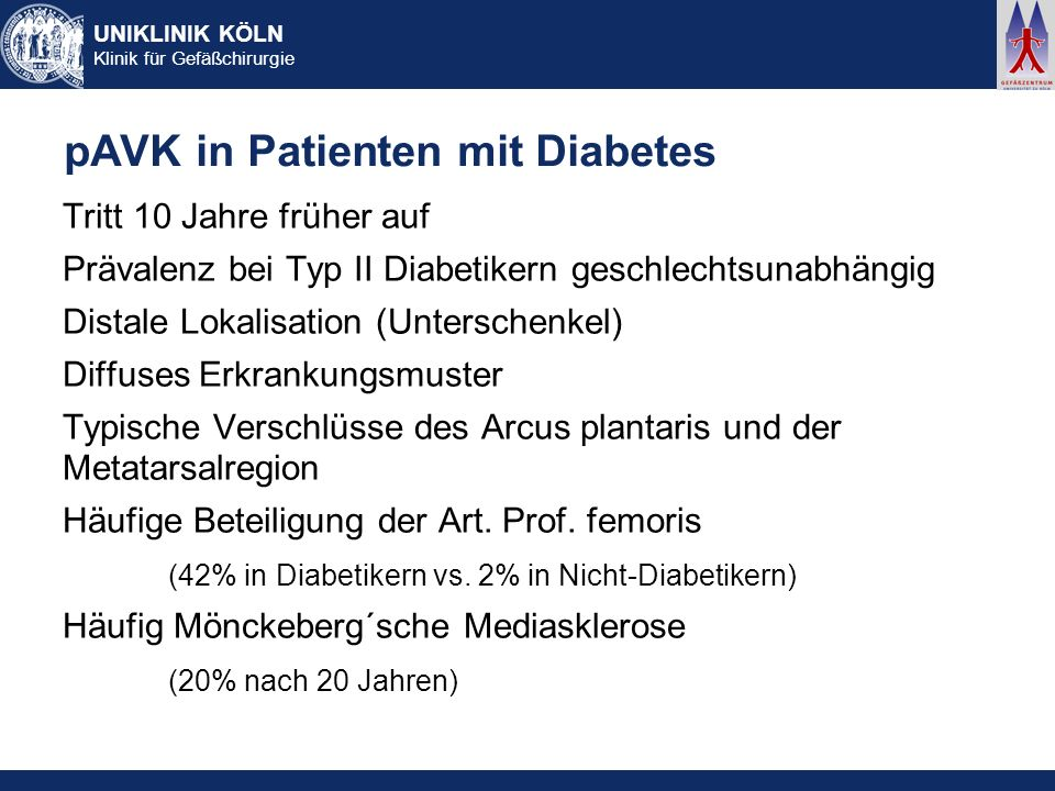 pAVK in Patienten mit Diabetes