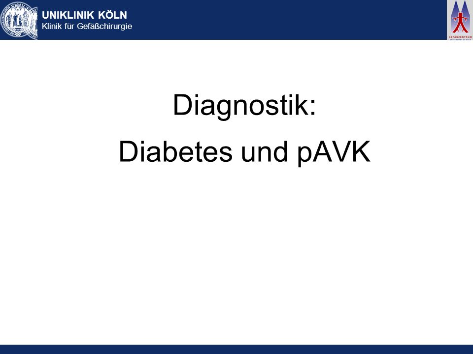 Diagnostik: Diabetes und pAVK