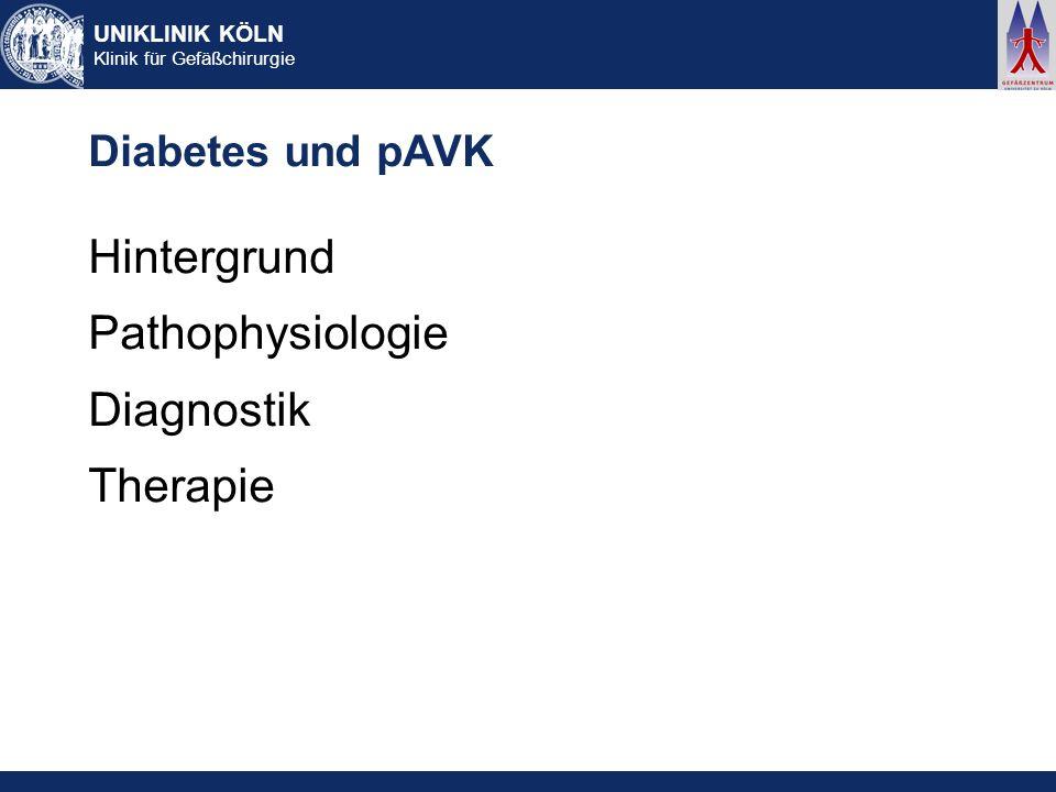 Diabetes und pAVK Hintergrund Pathophysiologie Diagnostik Therapie