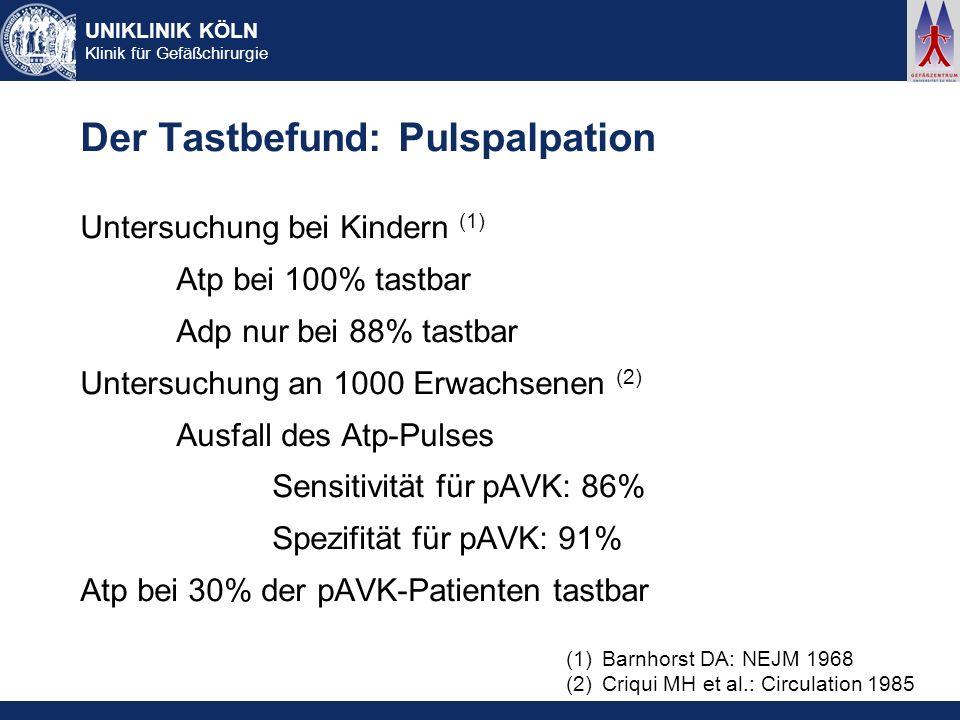 Der Tastbefund: Pulspalpation
