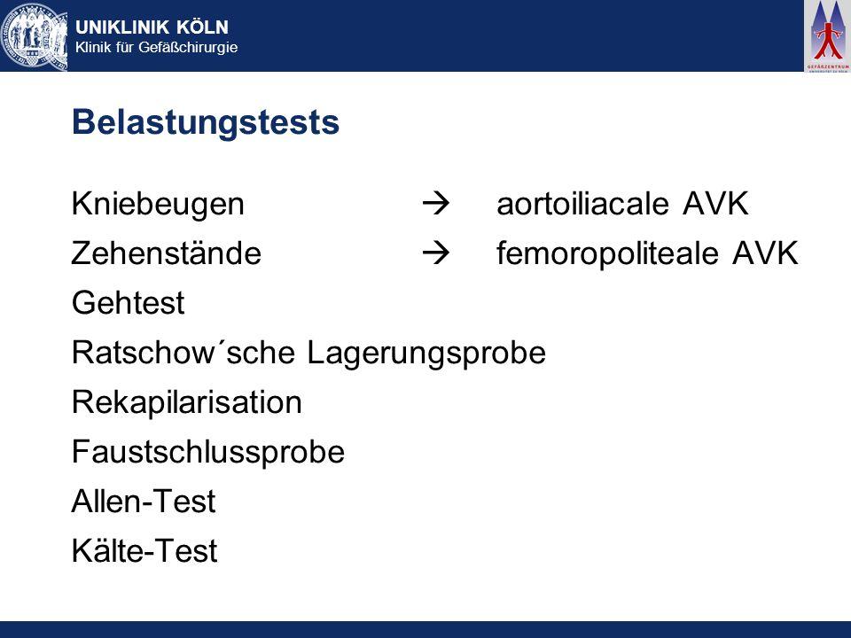Belastungstests Kniebeugen  aortoiliacale AVK