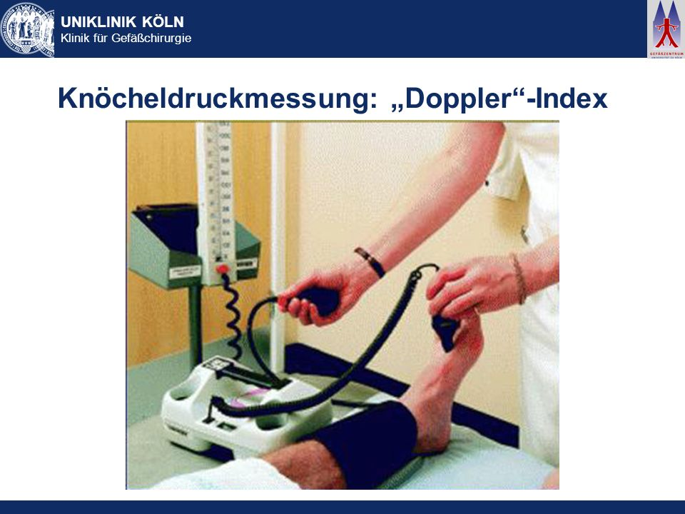 "Knöcheldruckmessung: ""Doppler -Index"