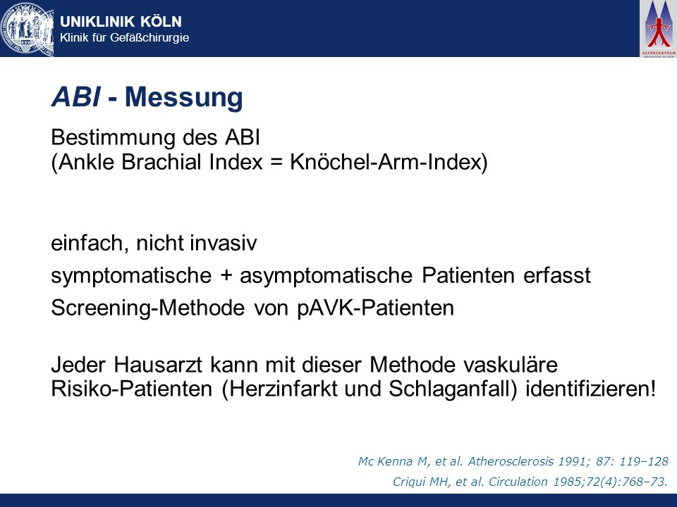 ABI - Messung Bestimmung des ABI (Ankle Brachial Index = Knöchel-Arm-Index) einfach, nicht invasiv.