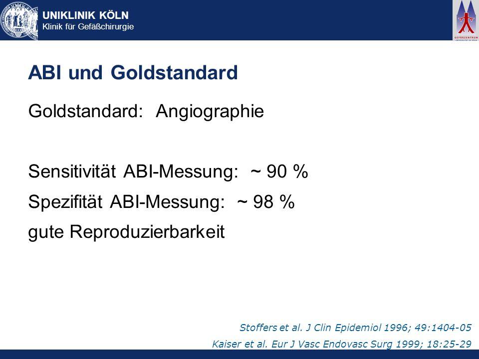 ABI und Goldstandard Goldstandard: Angiographie