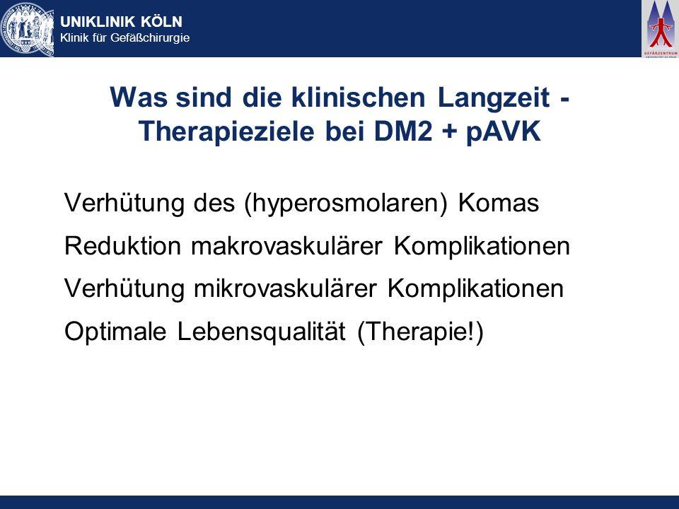 Was sind die klinischen Langzeit - Therapieziele bei DM2 + pAVK