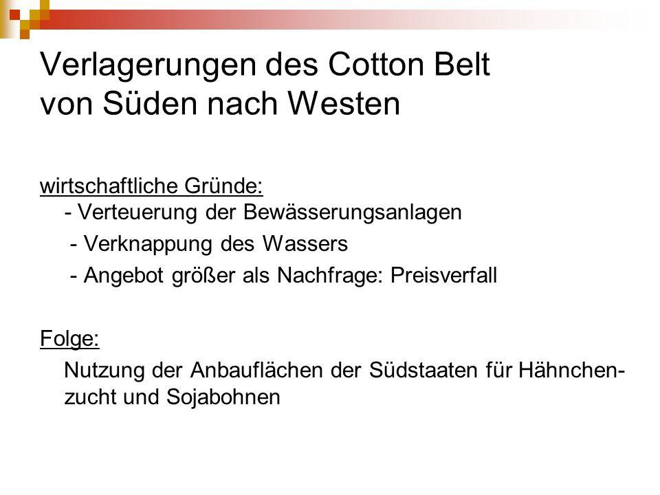 Verlagerungen des Cotton Belt von Süden nach Westen